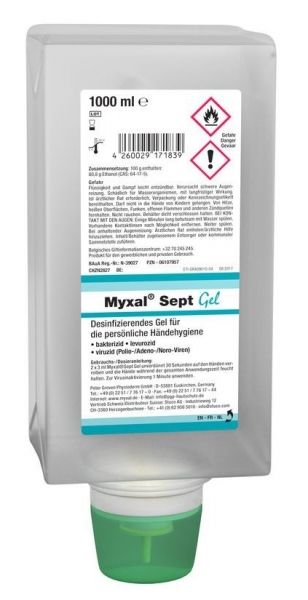 GREVEN-HANDDESINFEKTION, Myxal Sept Gel, 1000 ml Faltflasche